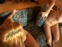Blonde and brunette chicks masturbate and share a cock