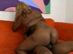 Twisted blonde black chick is fucked in her juicy ass on couch