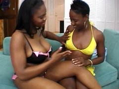Horny black whore sucks on her girlfriends small tits
