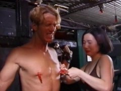 Lusty asian chick has her white stud in bondage