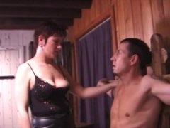 Guy in bondage gets shocked by horny chicks