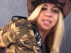 Dude shoves his fingers up hot blonde cowgirl's round ass