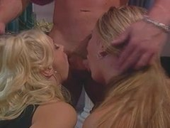 Two sexy blonde lesbians get drilled by muscleman