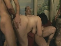 Horny oldies getting rammed in group sex orgy