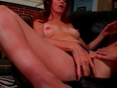 Lusty brunette MILF has sexy blond babe suck on her breasts