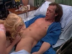 Cute blonde candystriper gives patient thorough deep suck
