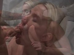 Young slut in sneakers sucks cock and gets ass fucked on a couch