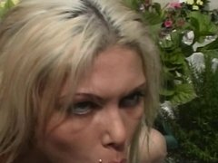 Busty blond nympho gets her tight pussy licked and fucked outside