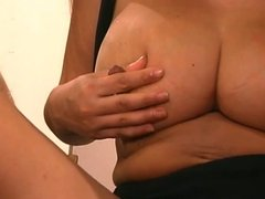 Beutiful girl with boobs full of milk rubs pussy and her hard nipples