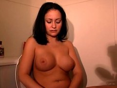 Hot brunette dumps her period in the toilet