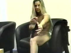 Sexy blond perfect body puma shows off every inch of her awesome body