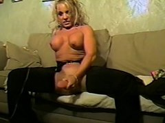Beautiful blonde in lingerie loves to ride a dildo and a big hard cock