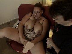 Fat DDD brunette in leopard lingerie shoves enormous dildo up her cunt