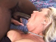 Mature blonde ditches dildo when black cock enters room