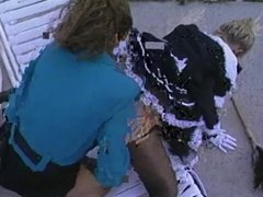 Debbie Diamond and girlfriend fuck with strap-on outdoors