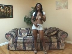 Horny black slut with nice tits fingers her pussy