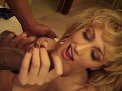 Blonde slut makes love with long black cock in her mouth