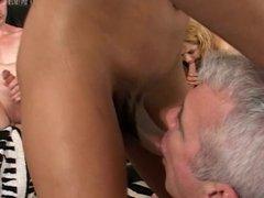 Old guy gives warm head to ebony tranny