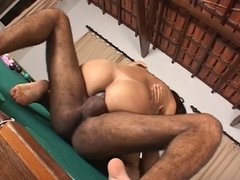 Brunette shemale with big dick gets fucked on the pool table