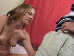 Frisky brun gives head then gets cunts licked followed by a hard fuck for facial