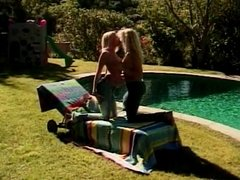 Stunning blonde chicks lick twat and use toys poolside