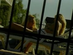 Blonde teen has her first lesbian sex with girlfriend by pool
