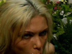 Blonde tan goddess with gaping asshole gets facialized
