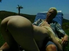 Busty blonde milf sucks and rides dick out in the sun