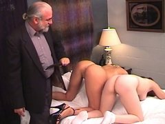 Young lesbian bdsm sluts love vibrator play and hard spanking from master Len