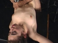 BDSM brunette slut gives BJ uses vibrator and gets fucked and jizzed in dungeon
