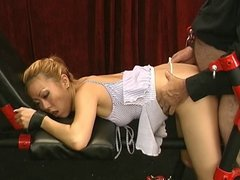 Gorgeous petite asian bent over and fucked in dress in dungeon