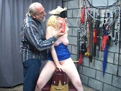 Blindfolded Justine gets teased and fisted by old dude