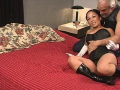 Cute young asian slave girl in corset has nipples tortured by Master Len