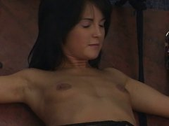 Young slave in sexy bikinis get strapped and blindfolded by mature master