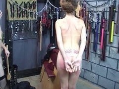 Sexy brunette in leather punishes girlfriend