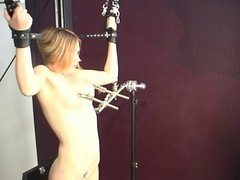 Hard nipple use for this blonde in Master Len's sex dungeon