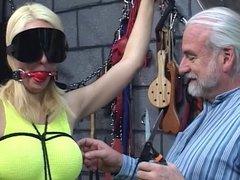 Submisive blonde girl slave get boundage and punishment on strange place