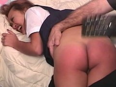 Slut gets punished for being naughty and bent over and spanked on her ass