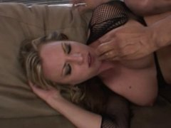 Cougar in black mesh loves to suck cock and get pounded in the ass