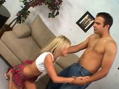 Guy fingers girls pussy while she sucks his cock