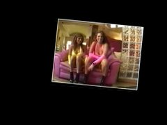 Bitches in hot pink and yellow outfits have foursome with guys on a couch