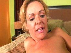 Skanky blonde grandma gets pounded hard by black stud