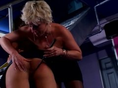 Two lesbians love restraining their slave girl and inspecting her tight cunt