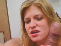 Dude gets hot BJ from blonde chick on the floor