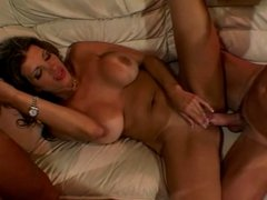 Two dudes rail and facialize chick with amazing tits in living room