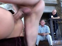 Guy removes blonde's sexy pink lingerie and fucks her on couch