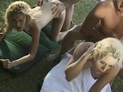 Sexy babes and horny hunks suck and fuck in poolside orgy