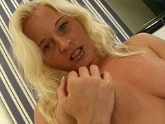 Horny slut plays with her pussy hard on the toilet