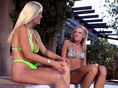 Beautiful LA blondes are like dogs in the buxom bare asses in pool