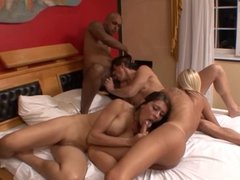 Three dicks cream chick after she gets fucked by tranny and two bisexual guys